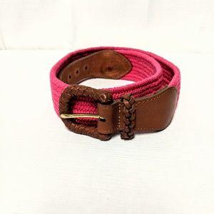 Lands End woven braided elastic pink belt size 32